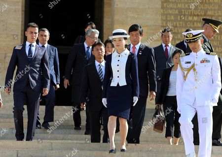 Akiko, Recep Tayyip Erdogan. Japan's Princess Akiko leaves the mausoleum of modern Turkey's founder Mustafa Kemal Ataturk in Ankara, Turkey, following a wreath-laying ceremony, during a visit to Turkey