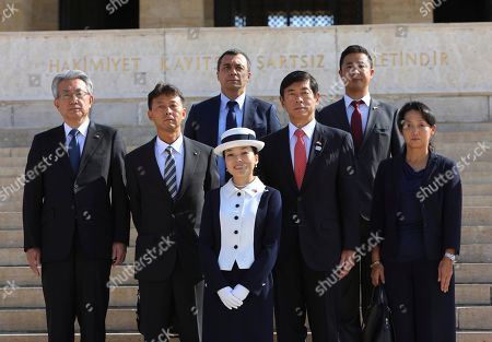 Japan's Princess Akiko, centre, poses for a photo at the mausoleum of modern Turkey's founder Mustafa Kemal Ataturk in Ankara, Turkey, during a wreath-laying ceremony, during a visit to Turkey
