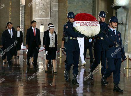 Japan's Princess Akiko, walks at the mausoleum of modern Turkey's founder Mustafa Kemal Ataturk in Ankara, Turkey, at a wreath laying ceremony, during a visit to Turkey