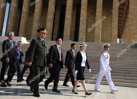 Japan's Princess Akiko leaves the mausoleum of modern Turkey's founder Mustafa Kemal Ataturk in Ankara, Turkey, following a wreath-laying ceremony, . Akiko is on a visit in Turkey
