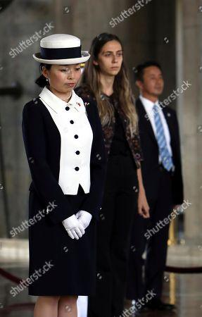 Recep Tayyip Erdogan. Japan's Princess Akiko visits the mausoleum of modern Turkey's founder Mustafa Kemal Ataturk in Ankara, Turkey, during a wreath-laying ceremony, . Akiko is on a visit in Turkey