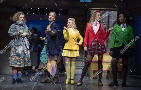 Carrie Hope Fletcher as Veronica, Rebecca Lock as Ms Fleming, Sophie Isaacs as Heather McNamara, Jodie Steele as Heather Chandler, T'Shan Williams as Heather Duke,