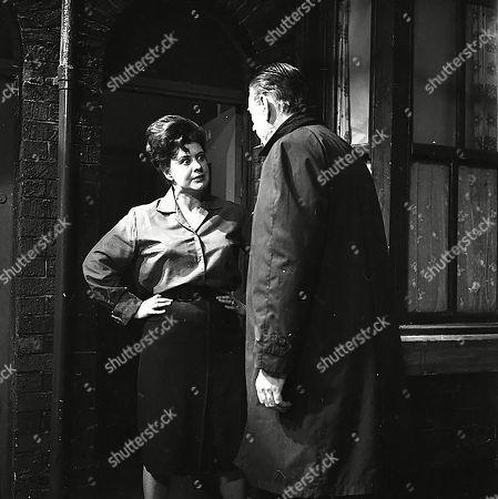 Pat Phoenix (as Elsie Tanner) and Alister Williamson (as Gus Lowman)