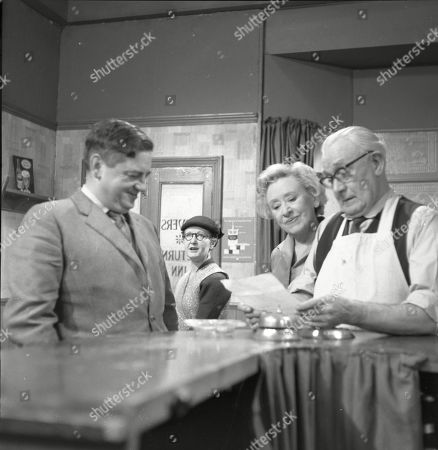 Frank Pemberton (as Frank Barlow), Lynne Carol (as Martha Longhurst), Doris Speed (as Annie Walker) and Arthur Leslie (as Jack Walker)