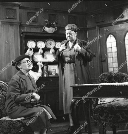Lynne Carol (as Martha Longhurst) and Violet Carson (as Ena Sharples)
