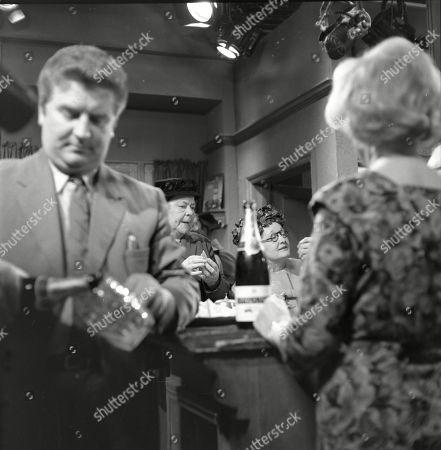 Peter Adamson (as Len Fairclough), Violet Carson (as Ena Sharples), Lynne Carol (as Martha Longhurst) and Doris Speed (as Annie Walker)