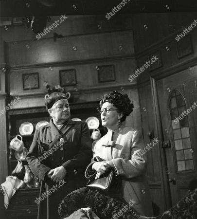Violet Carson (as Ena Sharples) and Lynne Carol (as Martha Longhurst)