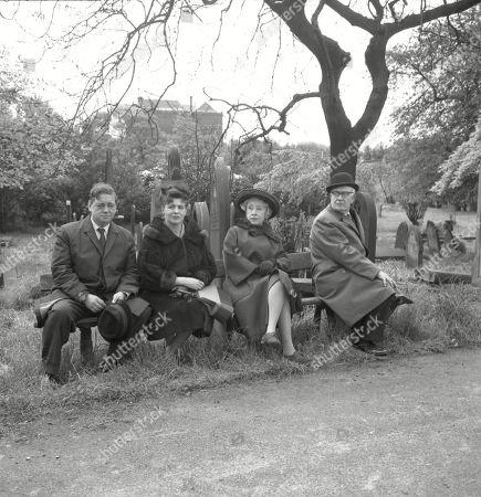 The funeral of Martha Longhurst. Frank Pemberton (as Frank Barlow), Pat Phoenix (as Elsie Tanner), Doris Speed (as Annie Walker) and Arthur Leslie (as Jack Walker)