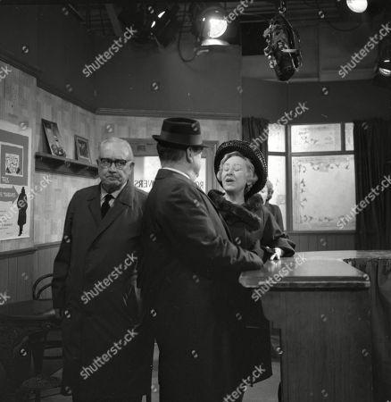 Arthur Leslie (as Jack Walker), Frank Pemberton (as Frank Barlow) and Doris Speed (as Annie Walker)