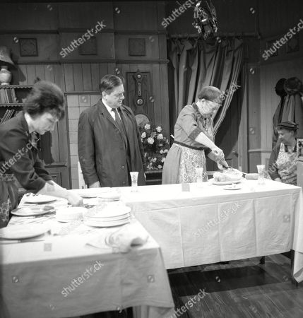 Eileen Derbyshire (as Emily Nugent), Frank Pemberton (as Frank Barlow) and Violet Carson (as Ena Sharples)