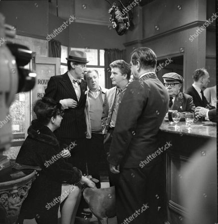 Stock Photo of Pat Phoenix (as Elsie Tanner), Gordon Rollings (as Charlie Moffitt), Graham Haberfield (as Jerry Booth), Peter Adamson (as Len Fairclough), Frank Pemberton (as Frank Barlow) and Jack Howarth (as Albert Tatlock)