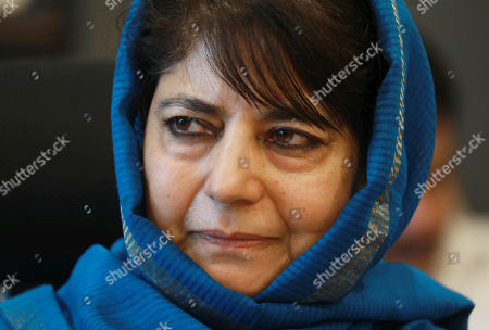 Peoples Democratic Party (PDP) president and former chief minister of Jammu Kashmir,  Mehbooba Mufti during a press conference in Srinagar, the summer capital of Indian Kashmir, 10 September 2018. Both PDP and National Conference (NC) have announced boycott of the upcoming municipal polls and Panchayat polls, citing unconducive atmosphere  in Kashmir over a legal challenge to Article 35-A of the Indian constitution which defines permanent residents of Jammu and Kashmir and prevents non-locals from buying or owning property in the state. Both PDP and NC demand protection to Article 35-A.