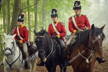Stock Image of Charlie Rowe as George Osborne, Patrick Fitzsymons as Major O'Dowd and Johnny Flynn as William Dobbin.