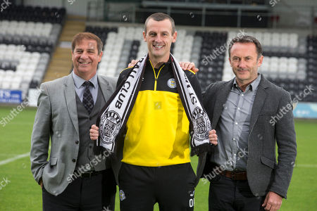 New St Mirren manager Oran Kearney with chairman Gordon Scott (right) and Director of football Tony Fitzpatrick (left)