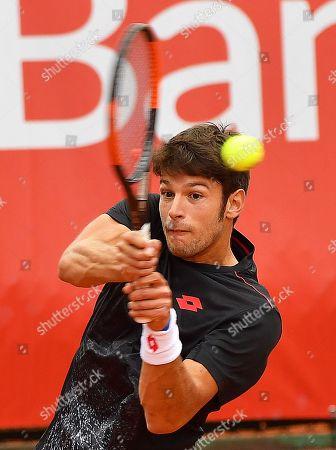 Italy's Gianluigi Quinzi in action against Konrad Drzewiecki of Poland during their first round match at the Challenger ATP Pekao Open tennis tournament in Szczecin, Poland, 10 September 2018.