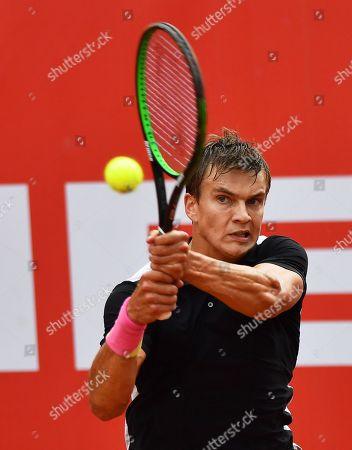 Stock Picture of Poland's Konrad Drzewiecki in action against Gianluigi Quinzi of Italy during their first round match at the Challenger ATP Pekao Open tennis tournament in Szczecin, Poland, 10 September 2018.