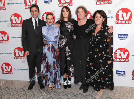 Stephen McGann, Laura Main, Charlotte Ritchie, Linda Bassett and Pippa Harris from Call the Midwife