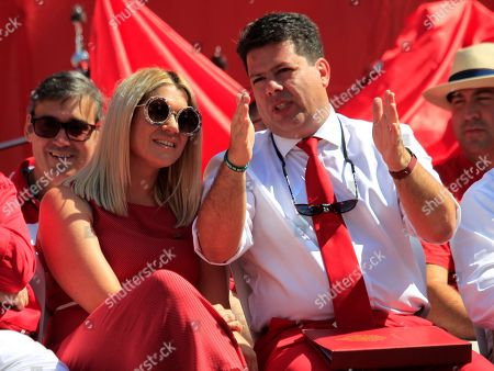 Chief Minister of Gibraltar Fabian Picardo (R) sits next to his wife Justine (L) attending the celebrations marking Gibraltar's National Day, in Gibraltar, 10 September 2018.