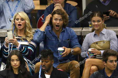 Christie Brinkley, Jack Brinkley Cook, Nina Agdal. Christie Brinkley, from top left, Jack Brinkley Cook and Nina Agdal attend the men's finals of the U.S. Open tennis tournament at the USTA Billie Jean King National Tennis Center, in New York