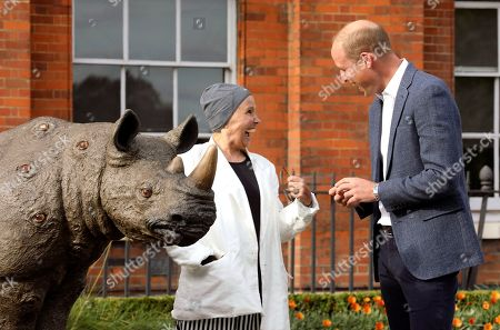 Stock Photo of Britain's Prince William speaks with artist Nancy Fouts as he attends an event to celebrate the Tusk Rhino Trail, a London-wide art installation that celebrates the rhino and draws attention to the global poaching crisis, at Kensington Palace Gardens in London