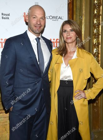 """Corey Stoll, Nadia Bowers. Corey Stoll, left, and Nadia Bowers attend the gala for """"First Man"""" on day 5 of the Toronto International Film Festival at the Elgin Theatre, in Toronto"""