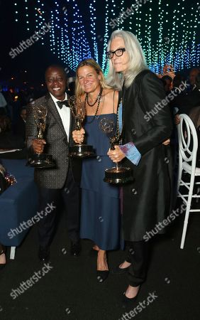 Yance Ford, Ellen Kuras, Joslyn Barnes. Yance Ford, from left, Ellen Kuras, and Joslyn Barnes, attend the Governors Ball during night two of the Television Academy's 2018 Creative Arts Emmy Awards at the Microsoft Theater, in Los Angeles