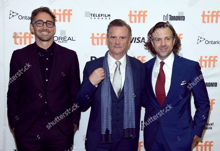 """Lee Pace, Nick Hamm, Jason Sudeikis. Lee Pace, from left, director Nick Hamm and Jason Sudeikis attend the premiere for """"Driven"""" on day 5 of the Toronto International Film Festival at the Princess of Wales Theatre, in Toronto"""