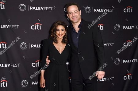 """Sarayu R. Blue, Paul Adelstein. Sarayu R. Blue, left, and Paul Adelstein attend the 2018 PaleyFest Fall TV Previews """"I Feel Bad"""" at The Paley Center for Media, in Beverly Hills, Calif"""