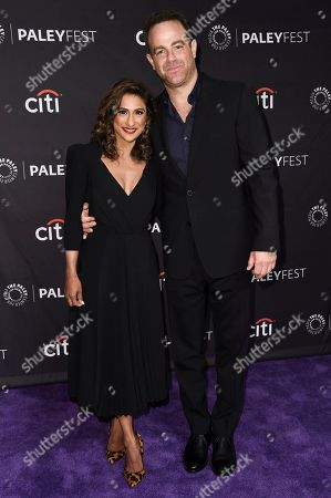"""Stock Picture of Sarayu R. Blue, Paul Adelstein. Sarayu R. Blue, left, and Paul Adelstein attend the 2018 PaleyFest Fall TV Previews """"I Feel Bad"""" at The Paley Center for Media, in Beverly Hills, Calif"""