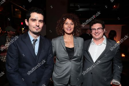 Stock Photo of Damien Chazelle, Director/Producer, Donna Langley, Chairman of Universal Pictures, Isaac Klausner, Producer