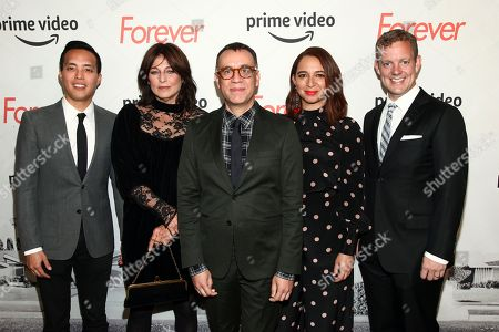 """Alan Yang, Catherine Keener, Fred Armisen, Maya Rudolph, Matt Hubbard. Alan Yang, from left, Catherine Keener, Fred Armisen, Maya Rudolph and Matt Hubbard attend a premiere screening of the Amazon Original Series """"Forever"""" at The Whitby Hotel, in New York"""