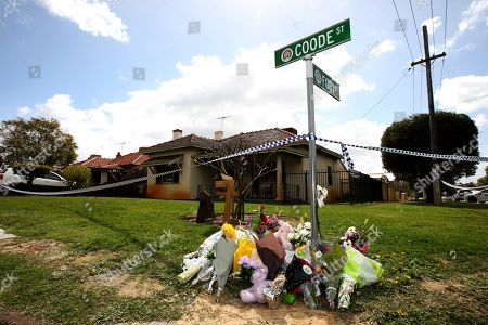 d95e8b8fcc Editorial photo of Flowers and tributes outside property where five bodies  were found in Perth