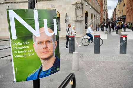 A mock election poster from environmental organization Greenpeace showing a picture of Green Party leader Gustav Fridolin and reading 'Sorry from the future. We should have put the climate first', is seen in central Stockholm, Sweden, 11 September 2018. Greenpeace campaigned against climate change as Sweden held general elections on 09 September, that has resulted in stalemate as far-right support surges.