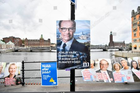 A mock election poster from environmental organization Greenpeace showing a picture of Moderate Party leader Ulf Kristersson and reading 'Sorry from the future. We should have put the climate first', is seen in central Stockholm, Sweden, 11 September 2018. Greenpeace campaigned against climate change as Sweden held general elections on 09 September, that has resulted in stalemate as far-right support surges.