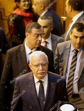 Palestinian Foreign Minister Riad Malki (front) arrives to attend the Arab Foreign Ministers annual meeting at the Arab League headquarters in Cairo, Egypt, 11 September 2018. Arab Foreign Ministers are holding their 150th annual meeting that will discuss several topics including the US decision to end all funding to the United Nations Relief and Works Agency for Palestine Refugees in the Near East (UNRWA).