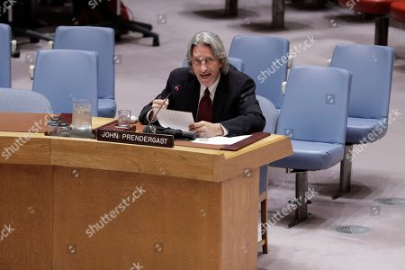 Stock Photo of Human Rights Activist John Prendergast During a Security Council Meeting on Corruption today at the UN Headquarters in New York.