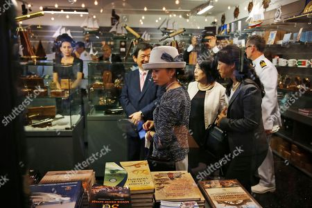 Japan's Princess Akiko visits the museum shop during a visit at the Besiktas Marine Museum in Istanbul