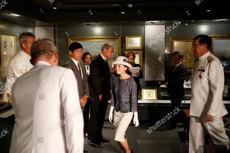 Japan's Princess Akiko attends an event during a visit at the Besiktas Marine Museum in Istanbul