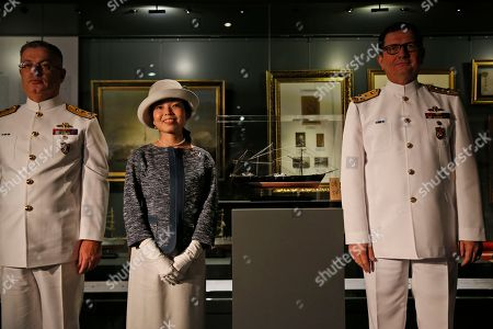 Japan's Princess Akiko poses for photographs during a visit at the Besiktas Marine Museum in Istanbul