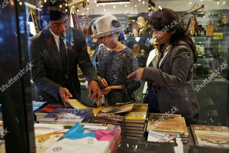 Stock Image of Japan's Princess Akiko visits the museum shop during a visit at the Besiktas Marine Museum in Istanbul
