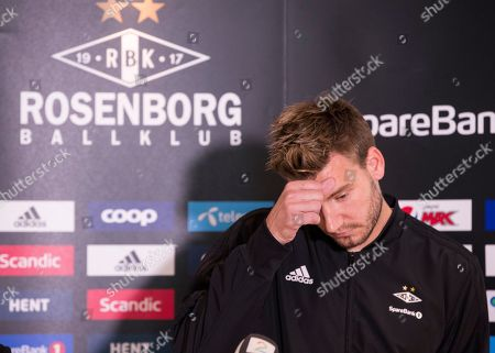 Rosenborg BK's Nicklas Bendtner attends press conference in Trondheim, Norway, 11 September 2018. According to reports Bendtner was reported to the police by a Copenhagen taxi driver who claims the Danish striker was behind a violent attack on 09 September 2018.