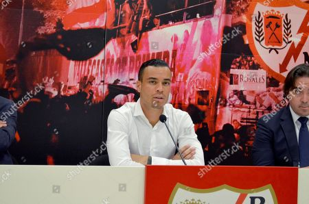 Spanish striker Raul de Tomas Gomez attends his presentation as a new Rayo Vallecano player in Madrid, Spain, 11 September 2018.