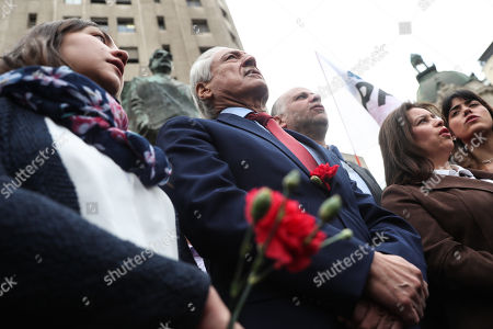 Members of the Party for Democracy, including the Presidents of the formation Heraldo Munoz (2L), participates in a march in homage to the late President Salvador Allende (1970-1973), around the Palace of La Moneda, Santiago, Chile, 11 September 2018. On 11 September 1973, Chilean socialist president Salvador Allende was overthrown by the armed forces and police.