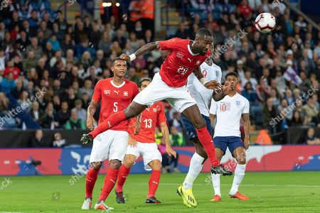 Switzerland's Johan Djourou in action during the friendly soccer match between England and Switzerland at the King Power Stadium in Leicester, England, on Tuesday, September 11, 2018.