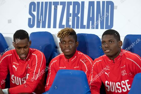 Stock Image of Switzerland's Edimilson Fernandes, Francois Moubandje and Breel Embolo, from left, prior to the friendly soccer match between England and Switzerland at the King Power Stadium in Leicester, England, on Tuesday, September 11, 2018.
