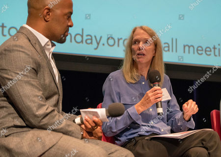 Co-founder of non-profit organization Cool Effect, Dee Lawrence, presents on stage at Science to Action Day, an affiliate event of the Global Climate Action Summit,, in San Francisco