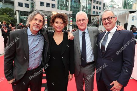 Stock Image of Peter Farrelly, Director/Writer/Producer, Donna Langley, Chairman of Universal Pictures, David Linde, CEO of Participant Media, Jimmy Horowitz, President of Universal Pictures