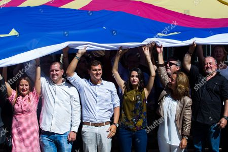 The president of Ciudadanos, Albert Rivera, along with the leader of Cs in Catalonia and national spokesperson, Ines Arrimadas Garcia