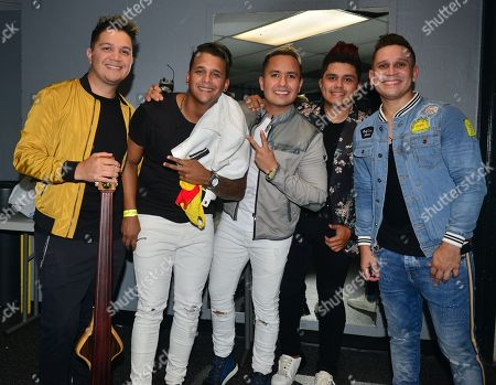Arnaldo, Ronald, Joseph, Renzo, Leonardo of Orquesta Adolescentes backstage at James L. Knight Center