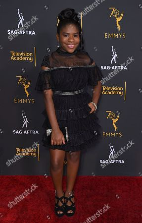 Trinitee Stokes arrives at the 2018 Dynamic and Diverse Emmy Nominee Reception presented by the Television Academy, in North Hollywood, Calif